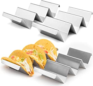 "4-Pack Stainless Steel Taco Holder Set, 8"" x 4"" x 2"" Metal Taco Holders with Handles. Convenient Taco Serving Rack for Parties, Picnics, Taco Tuesdays, and Family Meals. Hard & Soft Shell Taco Holders"