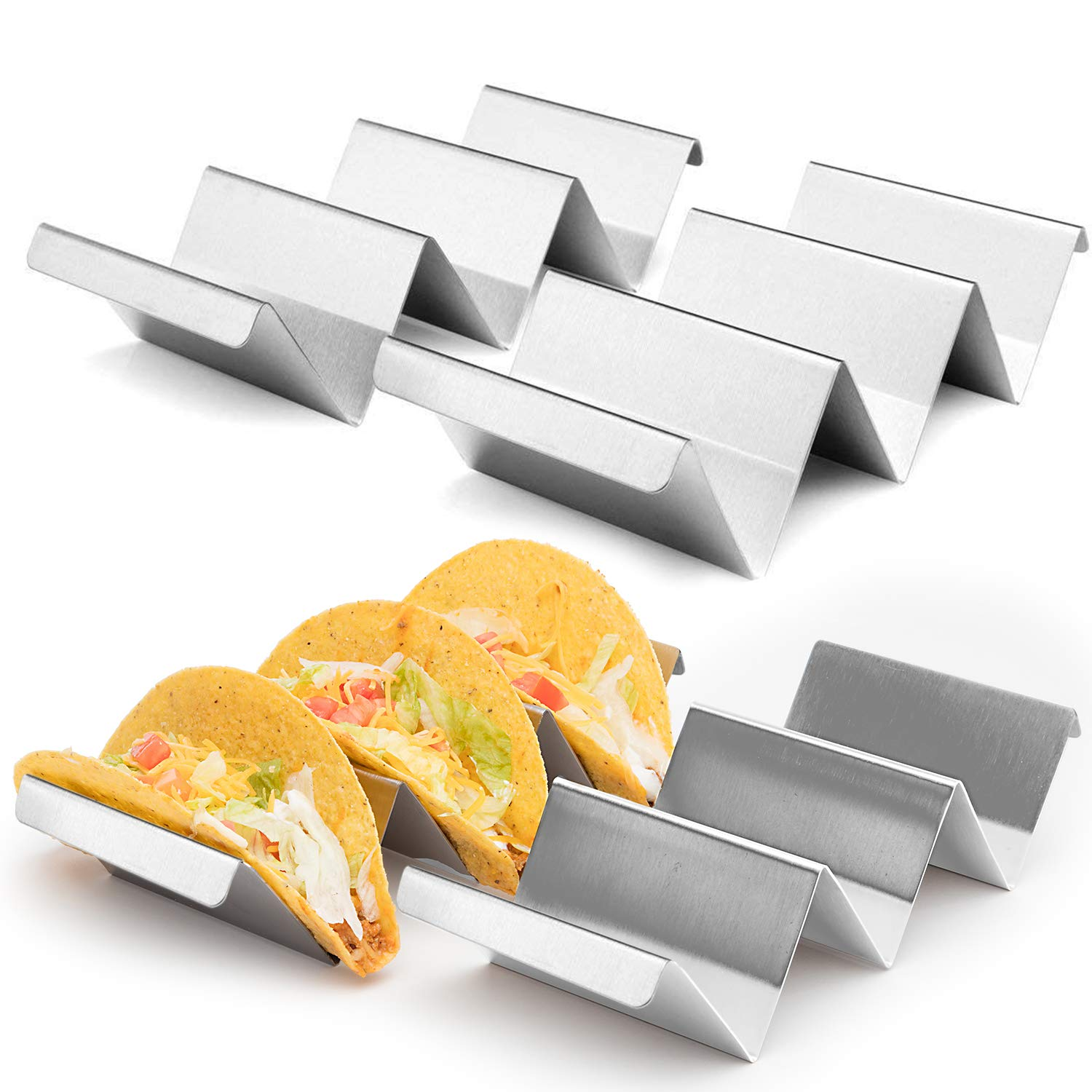 4-Pack Stainless Steel Taco Holder Set, 8'' x 4'' x 2'' Metal Taco Holders with Handles. Convenient Taco Serving Rack for Parties, Picnics, Taco Tuesdays, and Family Meals. Hard & Soft Shell Taco Holders