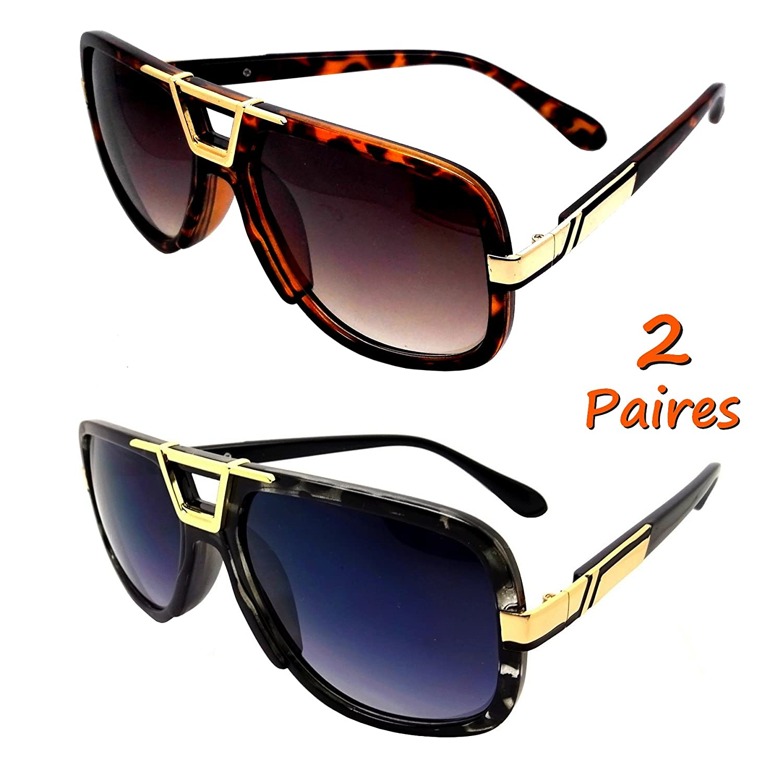 2 Paires de lunettes soleil HOMME FEMME CARRE RUN DMC EVIDENCE BILLIONNAIRE  NOIR MARRON f1023a76653b