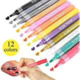 Acrylic Paint Pens Markers Pens for Rocks Painting,12,18,24 Colors for Ceramic, Glass, Wood, Fabric, Canvas, Mugs almost all surface DIY Craft Environmental Friendly Water-Based Fine Point Paint Pens