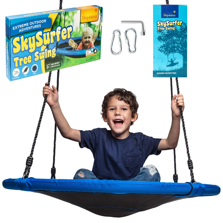 Skipdaloo Saucer Tree Swing for Outside - 40'' Hanging Round Swing for Kids, Easy Install, Steel Frame.