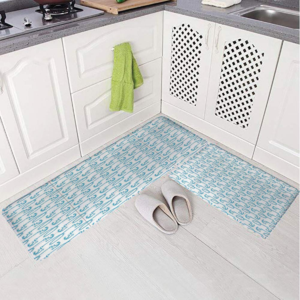 2 Piece Non-Slip Kitchen Mat Rug Set Doormat 3D Print,Naval Loops Sailing Theme Cartoon Style Ocean,Bedroom Living Room Coffee Table Household Skin Care Carpet Window Mat,