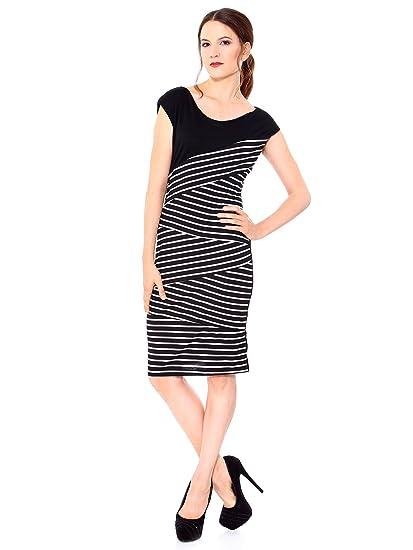 f81a23e2be Amazon.com  Simplicity Women Elegant Slim Sexy Striped Dress Evening Party  Cocktail Dress