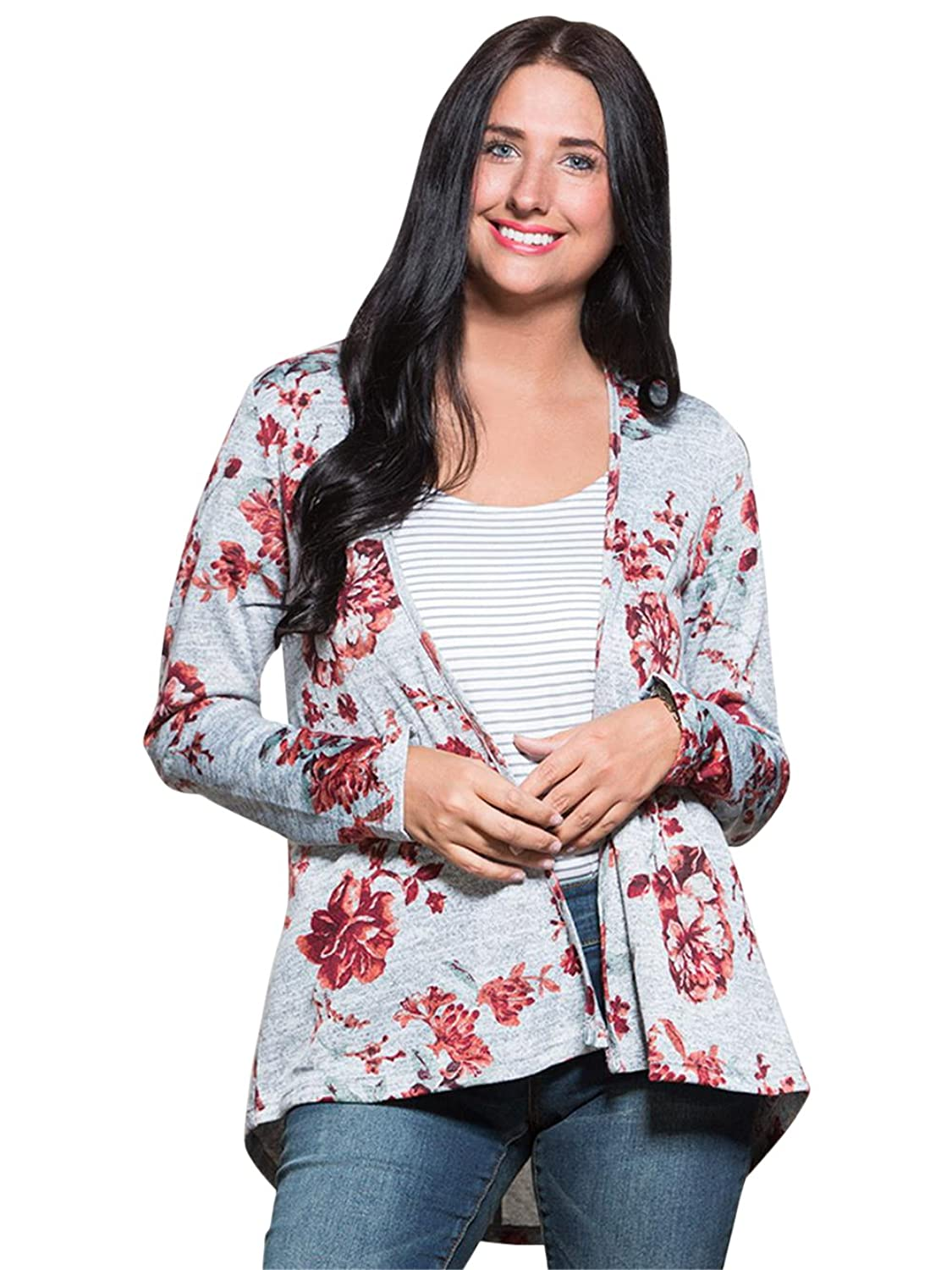 VANITY Women's Floral Lace Inset Cardigan XL Berry