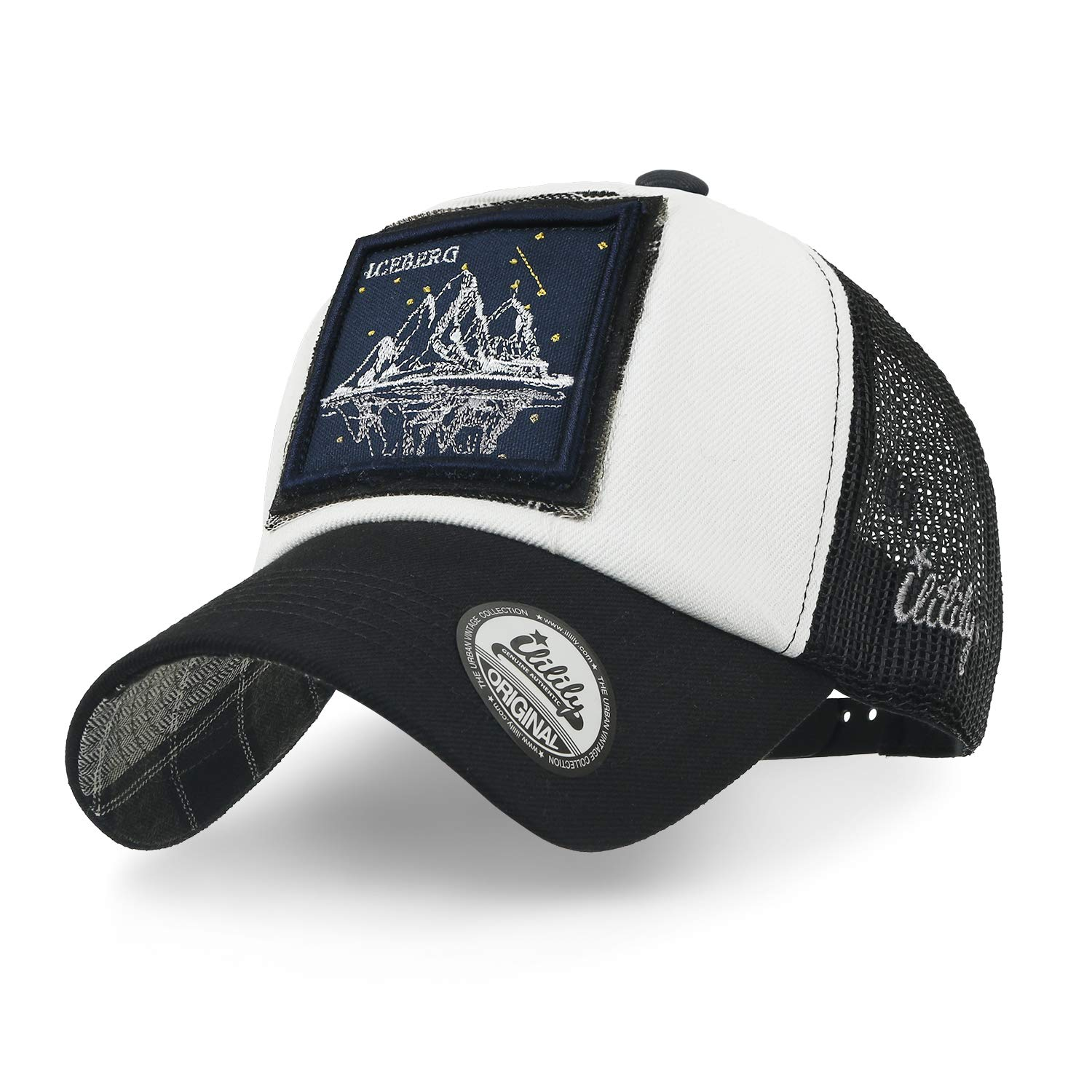 ililily Landscape Square Embroidery Patch Casual Mesh Baseball Cap Trucker Hat, Iceberg at Amazon Mens Clothing store: