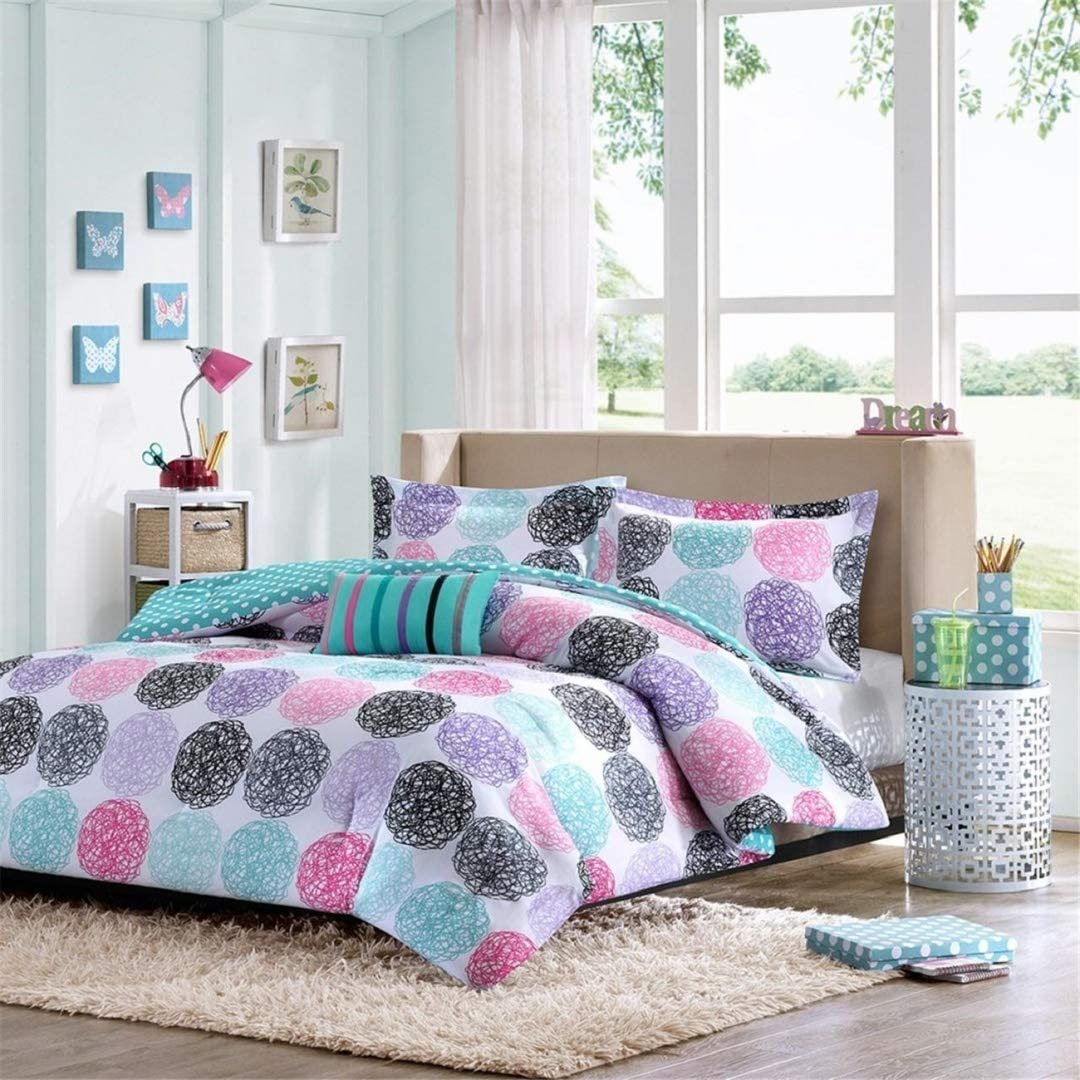 Amazon Com Girls Teen Kids Modern Bedding Set Aqua Pink Purple Dots Reversible Comforter With Shams And Striped Accent Pillow Includes Bonus Sleep Mask From Designer Home Twin Twin Xl Home Kitchen