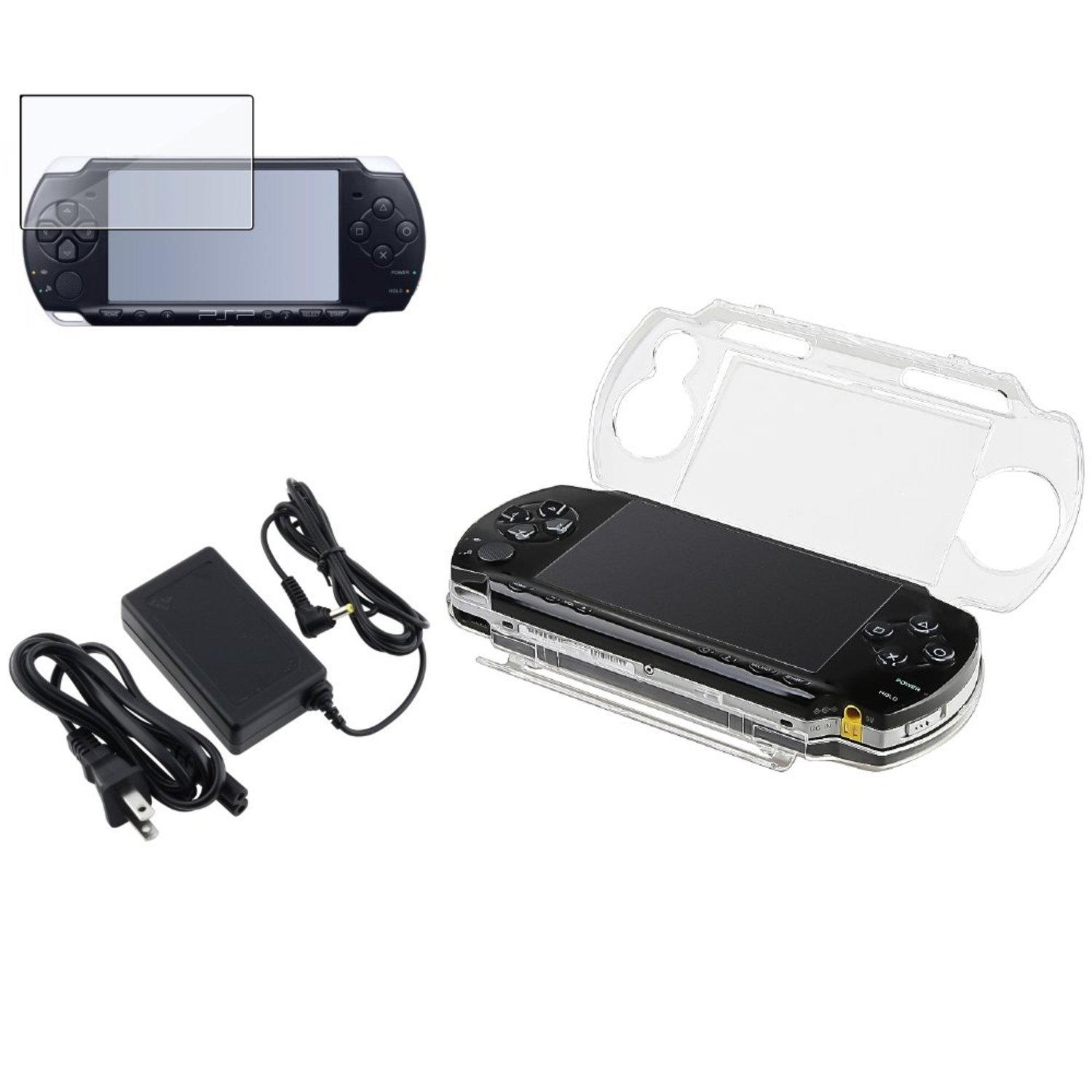 Theo&Cleo Clear LCD Screen Protector+Crystal Solid Case+Travel AC Charger For PSP 1000