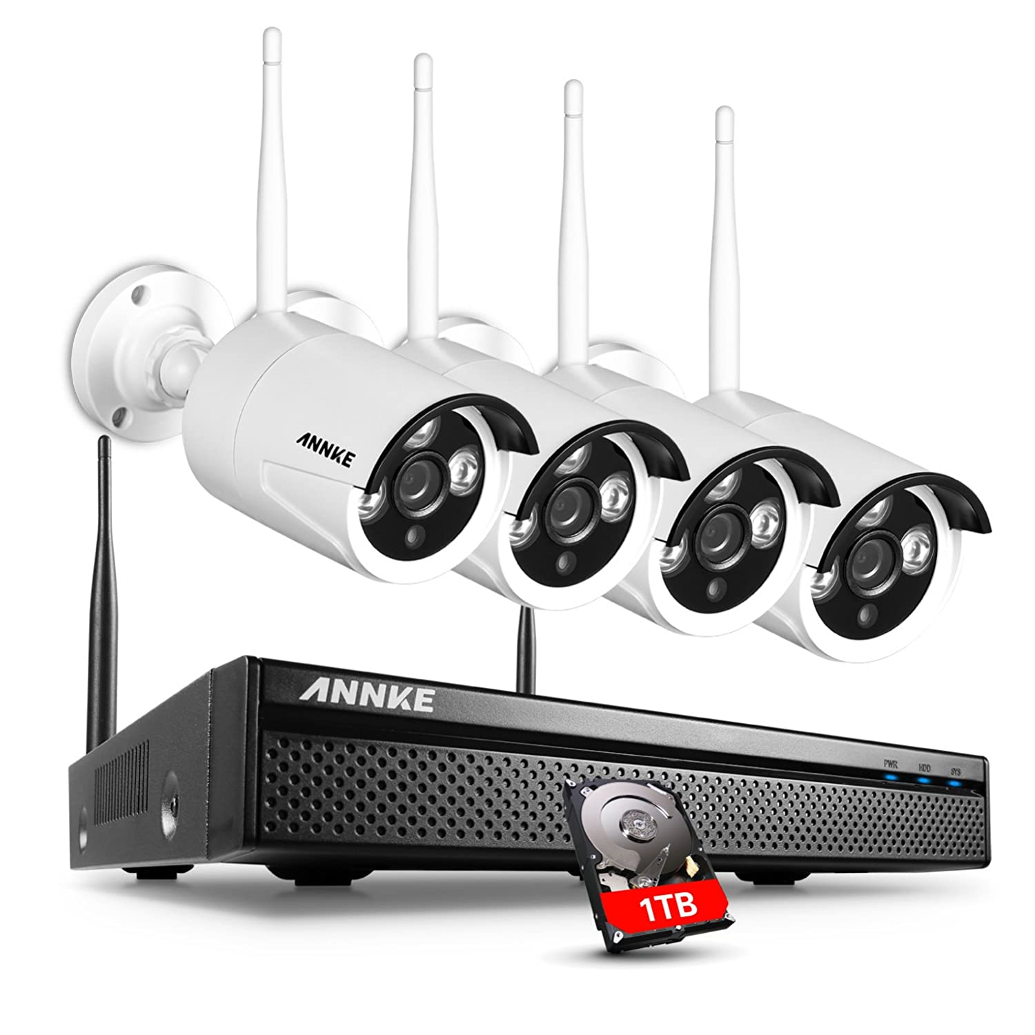 Annke 4 Channel Wifi Full Hd 1080p Nvr Wireless Cctv Camera Systems Drawing Modern Electronic Circuit Security Concept Of Electronics 1tb Surveillance Hard Drive W X 960p Ip Cameras Wi Fi Transmission