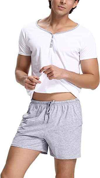 Pijama Hombre Verano Corto de Algodón con Pantalón, Simple y Generoso: Amazon.es: Ropa y accesorios