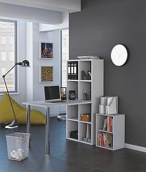 Mesa escritorio con estanteria alta. Blanca. De estudio, despacho ...