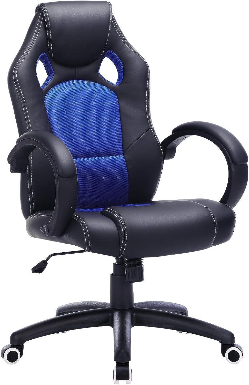 SONGMICS Racing Silla de Escritorio de Oficina Ergonómica Regulable con Ruedas, OBG56L, Azul