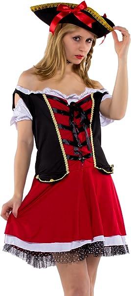 TrendClub100 Mujer Disfraz Pirata – Charlotte – 2 piezas Piratas ...