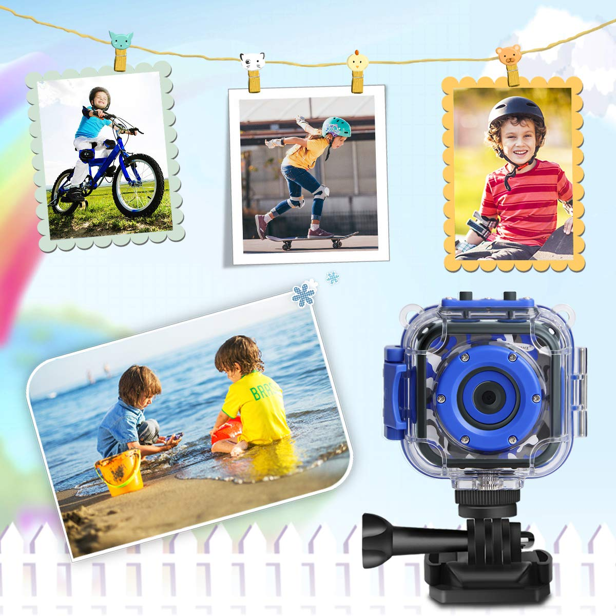 [Upgraded] PROGRACE Kids Waterproof Camera Action Video Digital Camera 1080 HD Camcorder for Boys Toys Gifts Build-in Game(Blue)  by Prograce (Image #7)