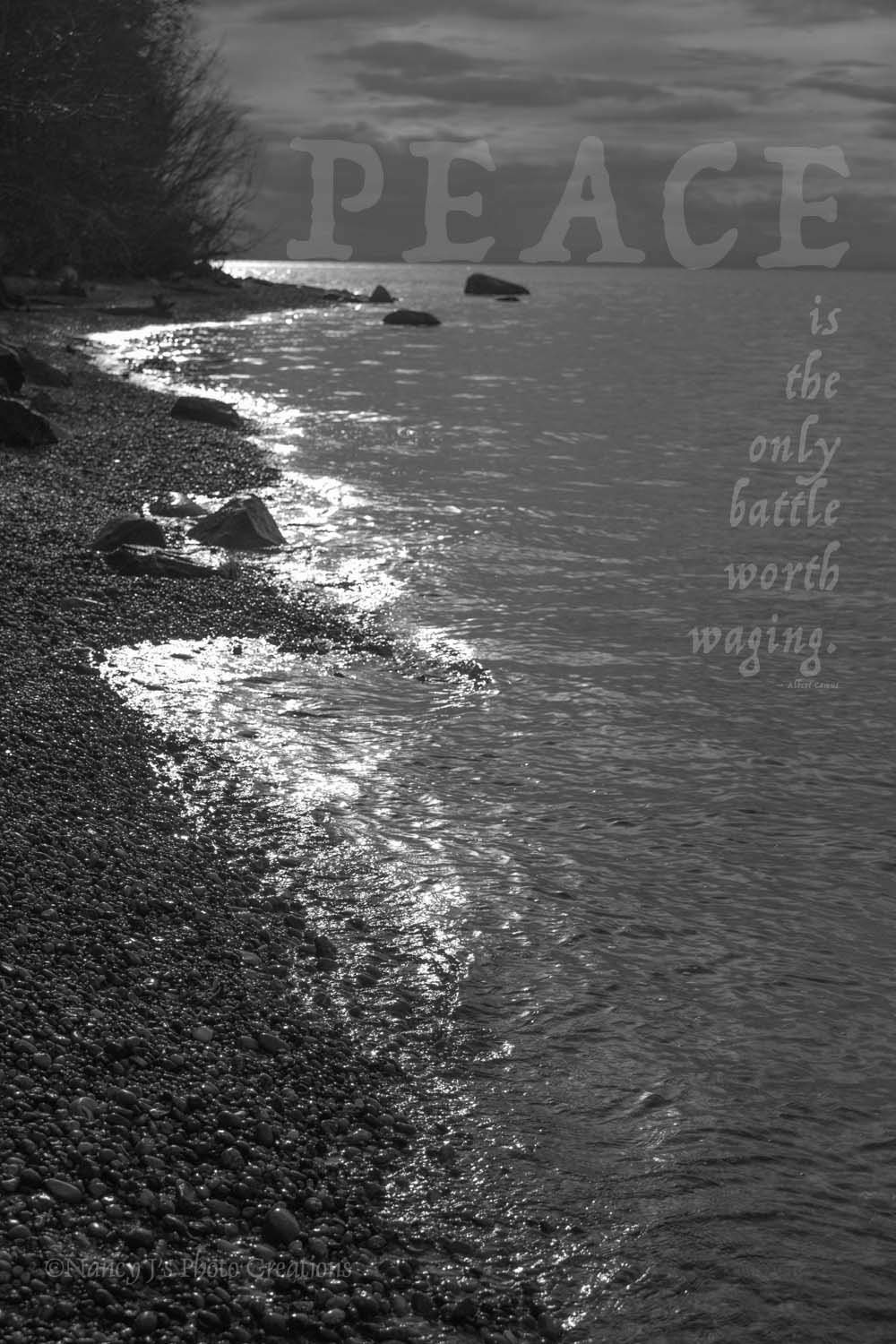 Wall art for the soul unframed inspirational gift nature photography black and white landscape print peace quote lake moonlight reflection 5x7 8x10 8x12