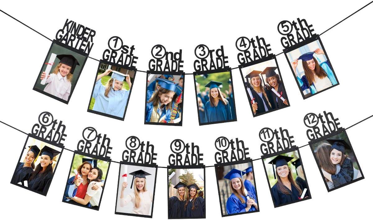 Black Glitter Graduation Photo Banner Kindergarten to 12th Grade Graduation Picture Banner,Graduation Decorations 2021,Graduation Banner 2021 2021 Graduation Party Decorations