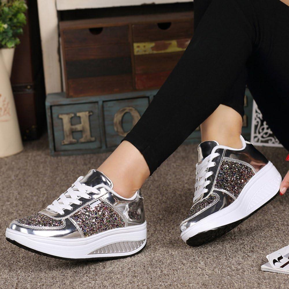 Femme Baskets Compens/ée Plateforme de L/éger Chaussures de Marche Fitness Gym Sport