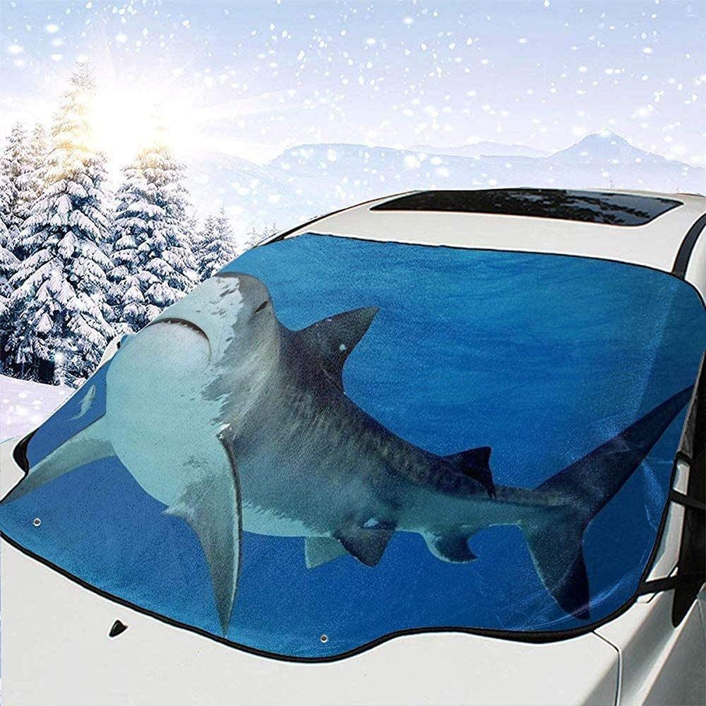 Couverture de Glace de Neige de Pare-Brise dhiver de Garde de Givre imperm/éable avec des couvertures de Miroir lat/érales NACYBATH Couverture de Neige de Pare-Brise de Voiture de Requin Tigre