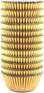 Eoonfirst Mini Foil Metallic Cupcake Liners Muffin Paper Baking Cups 300 Pcs (Gold)