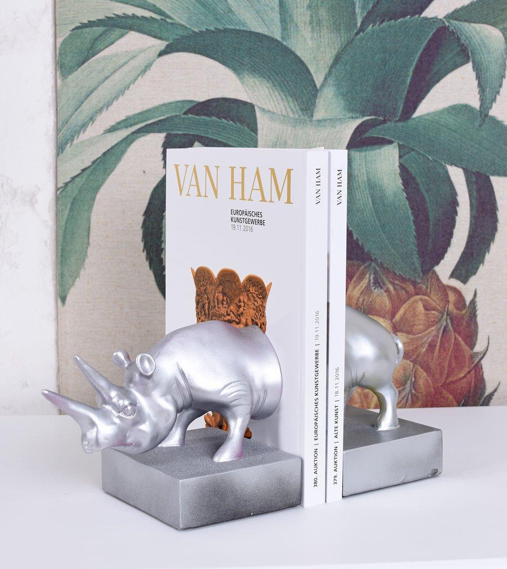 Nashorn Figur Silber Buchst/ützen Jungle Tierfigur Buchst/änder Exotic Palazzo Exklusiv