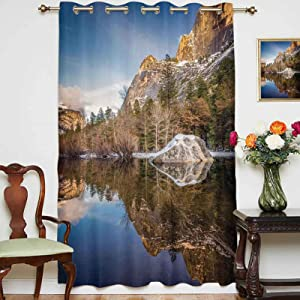 oobon Blackout Curtains Panels Yosemite Mirror Lake and Mountain Reflection on Water Sunset Evening View Picture Grommet Top Thermal Insulated Curtain for Home Decor,Single Panel,54