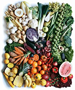 Fruits Vegetables Produce Colorful Healthy Rainbow Photo Cool Wall Decor Art Print Poster 24x36