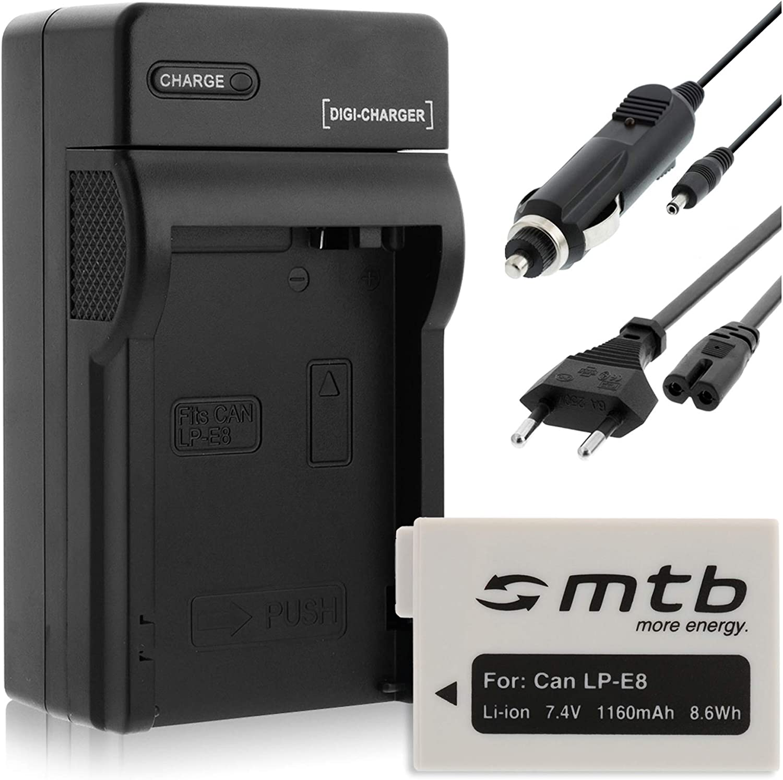para Canon LP-E8 // EOS 550D Cargador Bater/ía 1160mAh T4i 600D T5i T3i 700D // Rebel T2i Coche//Corriente 650D