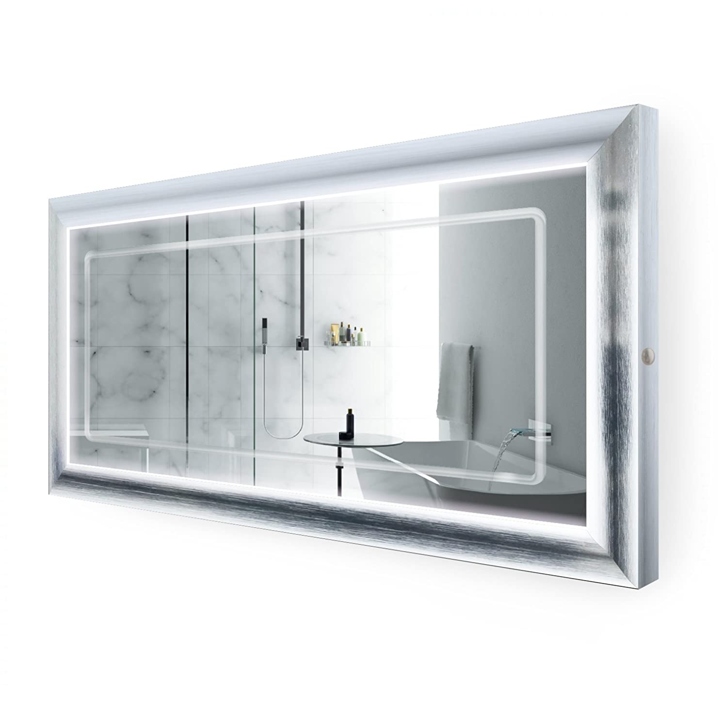 Krugg LED Lighted 60 Inch x 30 Inch Bathroom Satin Silver Framed Mirror w Defogger