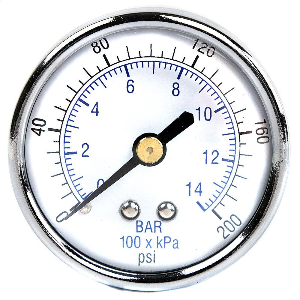 1//4 Male 0-200 PSI Back Mount Air Compressor Air Pressure Gauge