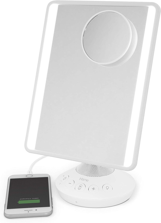 "iHome 7"" x 9"" Reflect iCVBT22W Adjustable Vanity Mirror with Bonus 10X Mirror, Bluetooth Audio, Hands-Free Speakerphone, LED Lighting, Siri & Google Support USB Charging, (White, 7"" x 9"")"