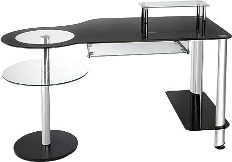 Bureau informatique verre noir et acier chromé amazon cuisine