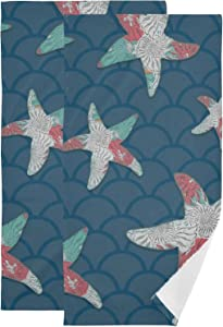 Blue Starfish Pattern Graphic Art Hand Towel Set Ultra Soft Absorbent Quick-Dry Hand Towels for Bath Fitness, Bathroom, Sports, Yoga, Travel (2-Pack ,28.3x14.4in)