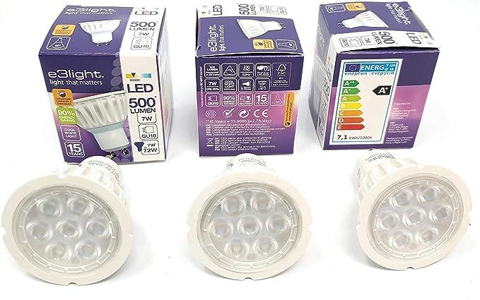 e3Light - Bombillas LED GU10 de repuesto para bombillas halógenas (3 unidades, intensidad regulable