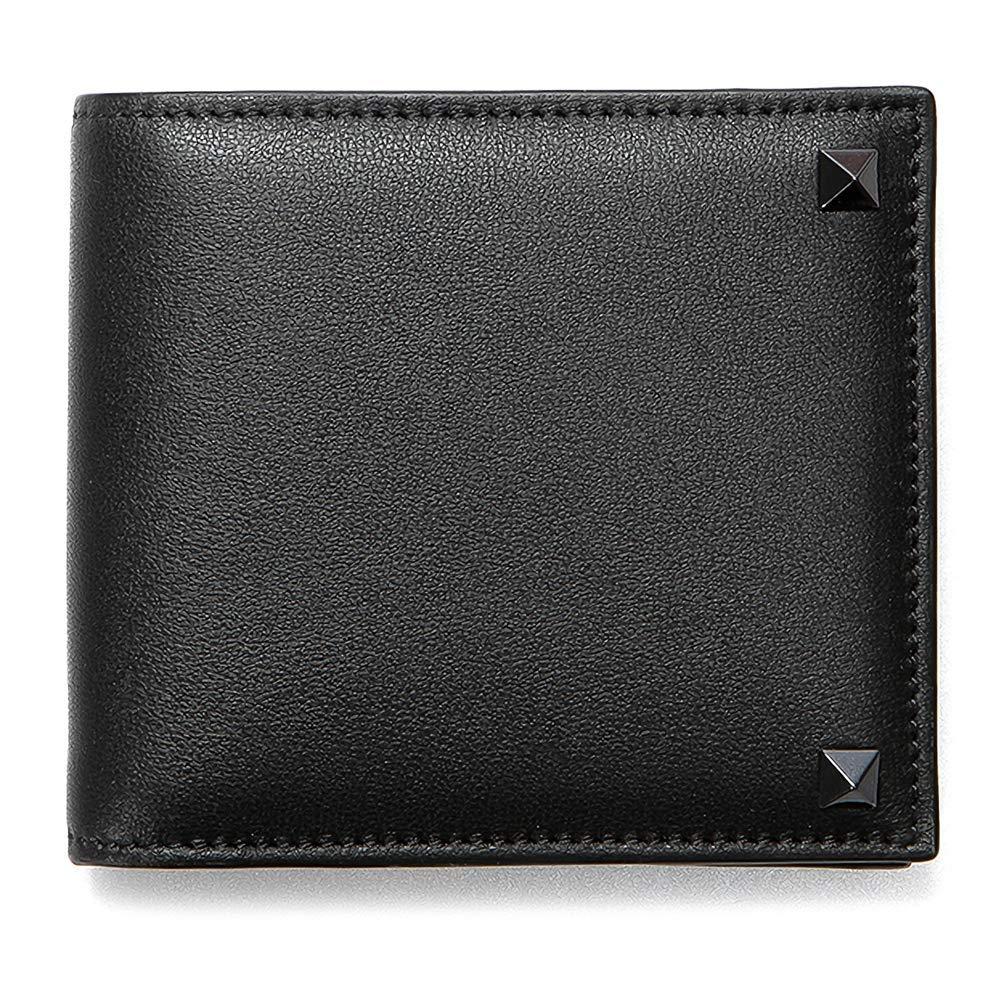 [ヴァレンティノ] [VALENTINO] メンズ ロックスタッズ 二つ折り財布 札入れ シンプル NERO ブラック [並行輸入品] B07GNSNXQ3  One Size