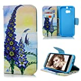 HTC One M8 Case Cover - Lanveni PU Leather Wallet Flip Cover Bookstyle Cell Phone Hoslter with Printing Design & Magnetic Closure & Card Slots & Stand Function Protective Cover for HTC One M8 , Pattern-7