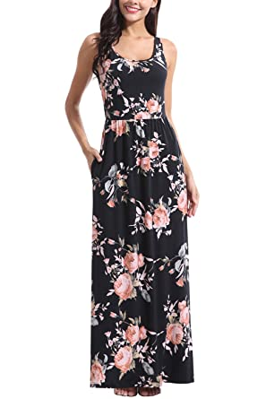 135d1d6a57a9 Zattcas Women Floral Tank Maxi Dress Pocket Sleeveless Casual Summer Long  Dress (Small, Black