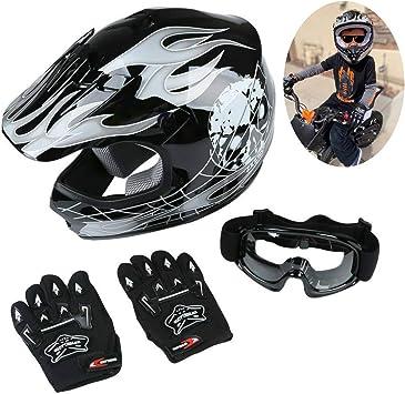 DOT Youth Skull ATV Dirt Bike Full Face Helmet With Gloves Goggles SIZE:S M L XL
