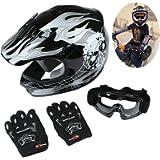 TCT-MT DOT Black&Silver Skull Helmet w/Goggles+Gloves Youth Kids Dirt Bike ATV Motocross Helmet(Small)