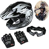 $46 » TCT-MT DOT Black&Silver Skull Helmet w/Goggles+Gloves Youth Kids Dirt Bike ATV…