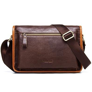 f6a1c124e49b Amazon.com: Contacts Leather Men Messenger Crossbody Shoulder Bag ...