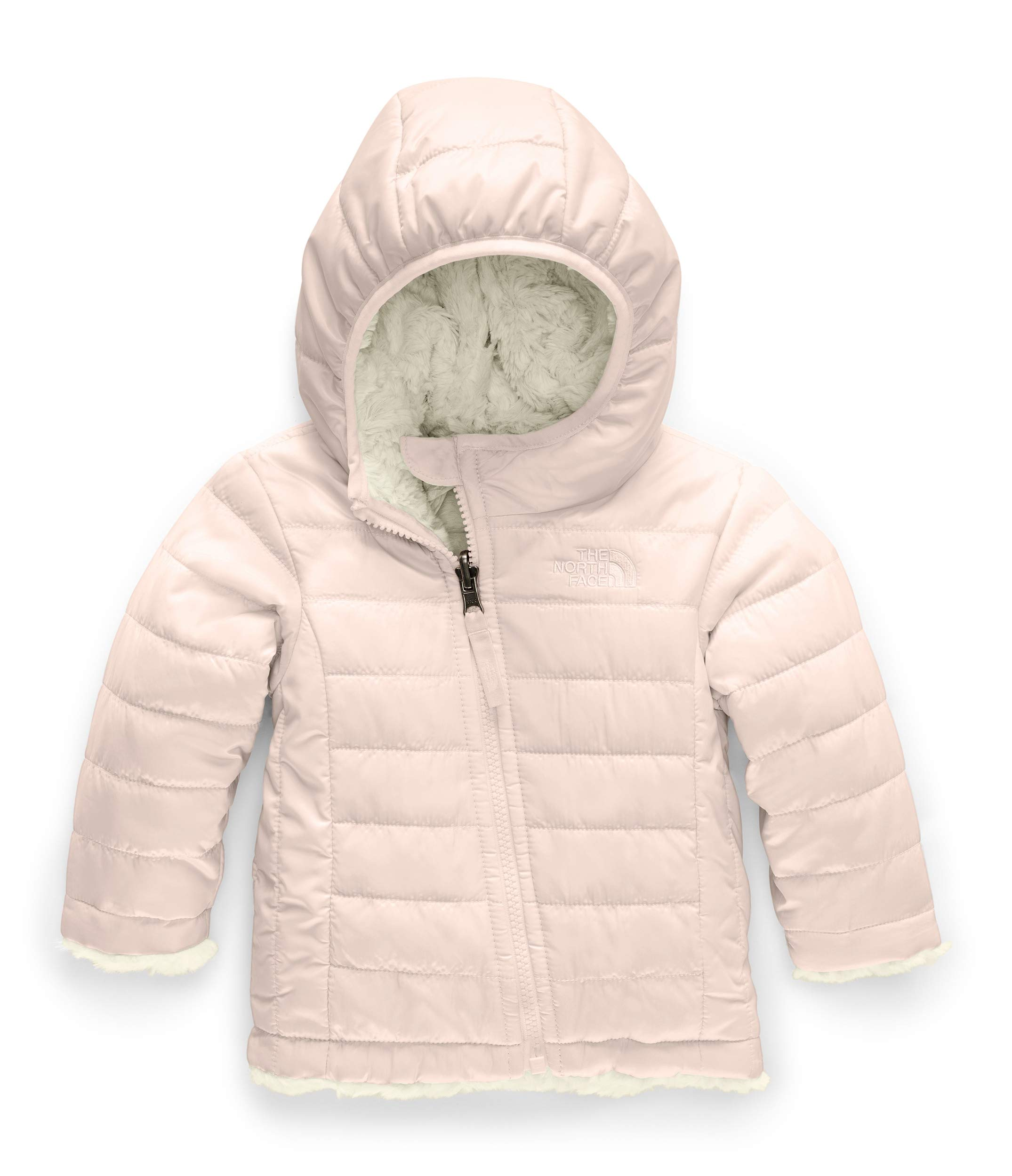 The North Face Infant Reversible Mossbud Swirl Hoodie, Purdy Pink/Vintage White, 12-18 Months by The North Face