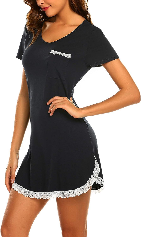 Ekouaer Nightgowsn for Womens Sexy Sleep Shirt Dress V Neck Short Sleeve Lace Trim Soft Short Night Shirts XS-3XL
