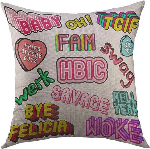 Pillow Case Phrases Words Meme Patches