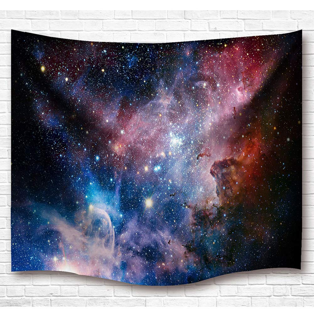 Galaxy Space Tapestry Wall Hanging, Universe Theme Asterism Star Wall Decor Blanket Bohemian Out Space Tapestry Solid Colored Printed Decorative Mandala Tapestry Wall Carpet (L60'' X 50'', Galaxy)