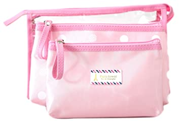 c7ee80af51cd Amazon.com   Zhoma 3 Piece Waterproof Cosmetic Bag Set - Makeup Bags And Travel  Case - Pink   Beauty