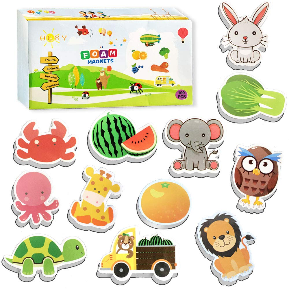 HLXY Fridge Magnets for Toddlers Kids Gift Set 100 pcs Animals Magnets -Fruit Vegetables Vehicle Magnets - Foam Magnets Educational Toy for Preschool Learning
