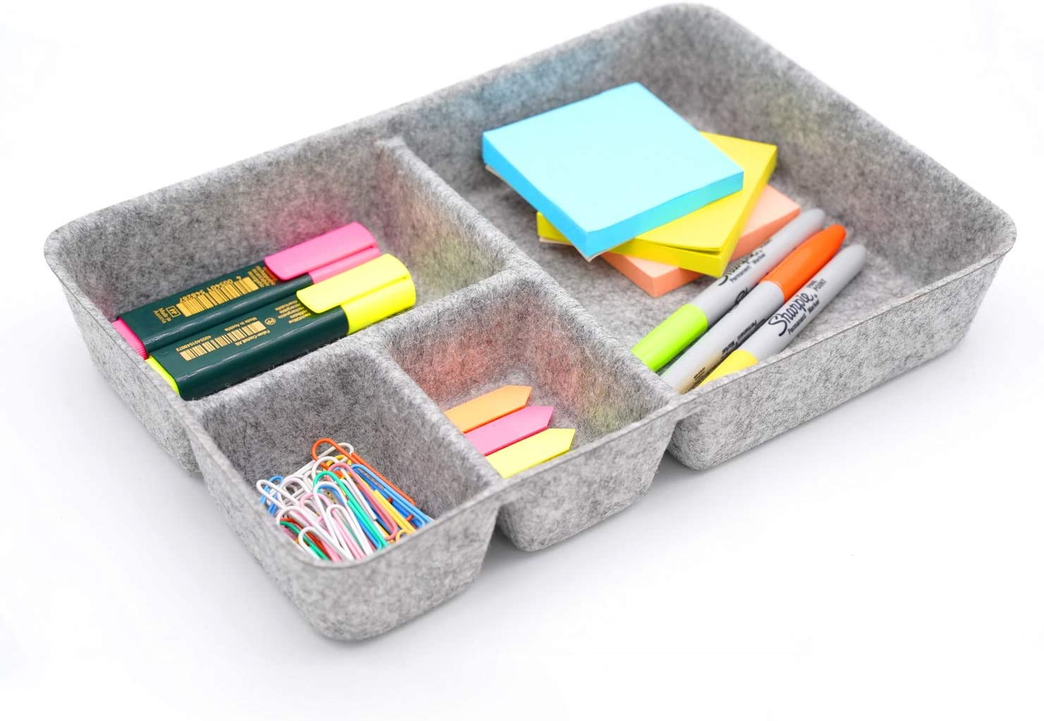 Welaxy Junk Drawer Organizer bin 4 Compartments Office organizers bins felt trays drawers 4 dividers Multi-Purpose Storage (gray)
