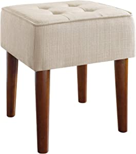 Elle Decor Aria Upholstered Ottoman Food Rest Stool with Classic Button Tufted Style, Extra Seating for Modern Home, Compact Size for Small Space, Ivory