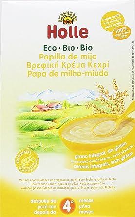 Holle - Papilla de Mijo para niños +4 meses, sin gluten, Paquete de 6 unidades x 250 g