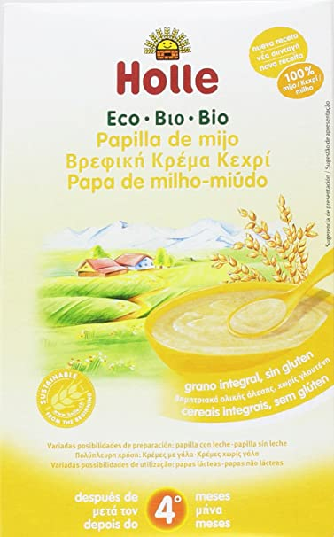 Holle - Papilla de Mijo para niños +4 meses, sin gluten, Paquete ...