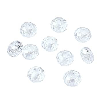100pcs Glass European Beads Faceted Large Hole No Metal Core Loose Charms 14x8mm